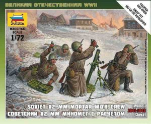 WWII Soviet 82-mm Mortar with Crew (winter), Zvezda 6208